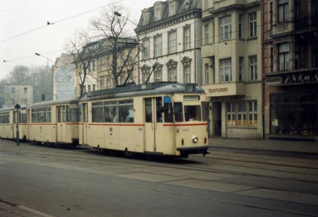 stra enbahn rostock gotha t57 tram nr 755 linie 11 january 1990 flickr photo sharing. Black Bedroom Furniture Sets. Home Design Ideas