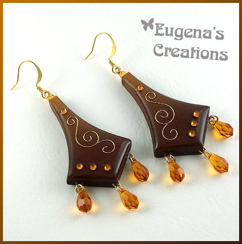 Honey-Honey - Faux Cloisonne Earrings, Polymer Clay and Resin