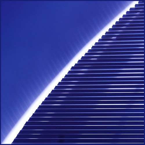 blue lines wall architecture library ceiling curve santiagocalatrava lightplay universitätzürich universityofzürich sonneschutzsegel