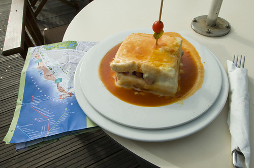 Portuguese Traditional Francesinha at Beach Restaurant Praia da Luz - Porto (Foz do Duoro) - Portugal