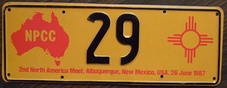 N.P.C.C. 1987 2ND ANNUAL NORTH AMERICAN MEET souvenir license plate. FIRST ISSUE