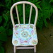 Cute little Antique Childs Chair Pink Rose Mosaic Tile