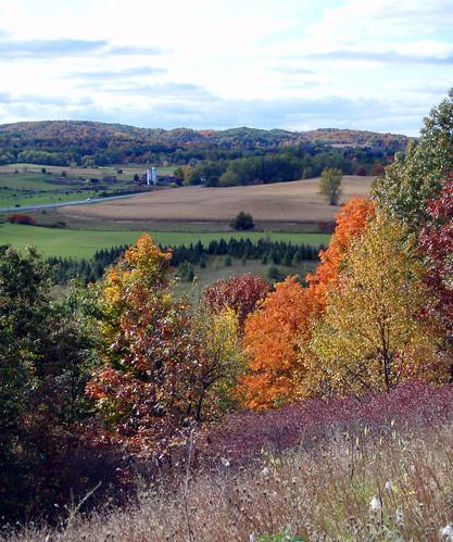 autumn trees sky color fall rural farm forthill ganondagan victorny