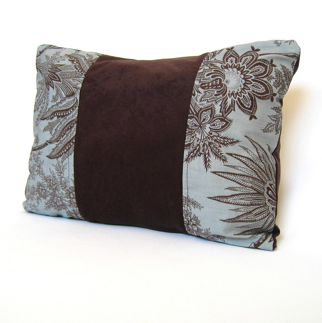 Chocolate Brown Floral on Turquoise Blue Decorative Pillow? Flickr - Photo Sharing!