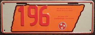N.P.C.C. 1994 9TH ANNUAL NORTH AMERICAN MEET souvenir license plate