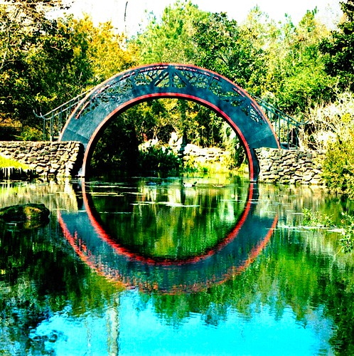 garden water nature landscape architecture reflection bridge circle pond lake symmetry symmetric round virtual illusion mirrored oriental symmetrical tree stone iron daarklands swp vivid netartii exoticimage trolledproud awardtree vividimagination o pov landscaping