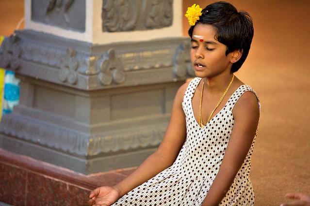 Hindu girl meditating
