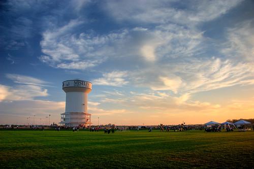 cloud sunrise watertower hdr