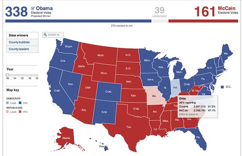 President Map  Election Results 2008  The New York Times