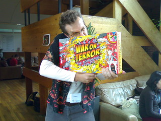 Ant Miller brandishing 'War on Terror - the board game'