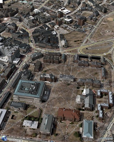 Aero view of Harvard Yard and Harvard Square looking west