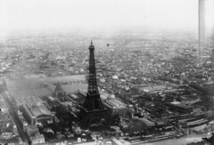 Aerial view of Eiffel Tower and Exposition Universelle, Paris, 1889