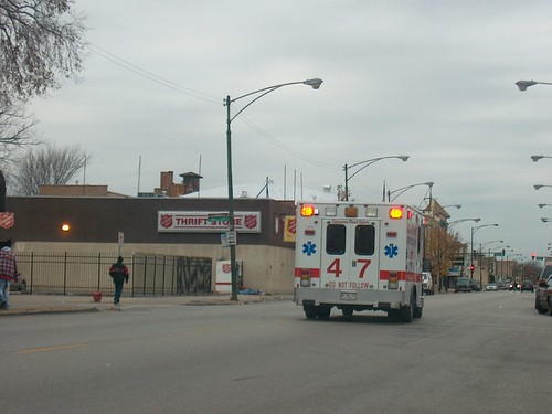 Westbound Chicago Fire Department Ford Ambulance. Chicago Illinois. November 2006. by Eddie from Chicago