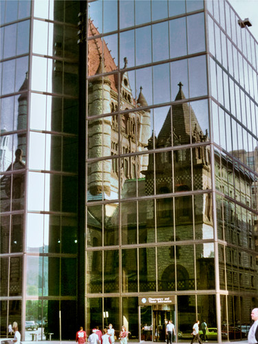 Trinity Church as seen reflected on the Hancock Tower. Boston