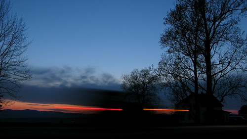 trees sunset motion car silhouette lights movement exposure vermont sundown randolphcenter canong9