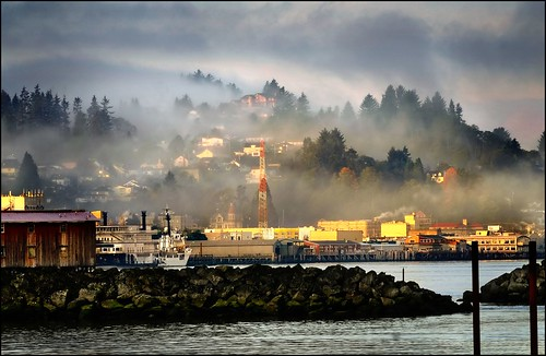 morning fog over astoria
