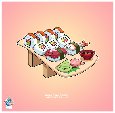 Kawaii California Roll and Sushi Nirigi Vector