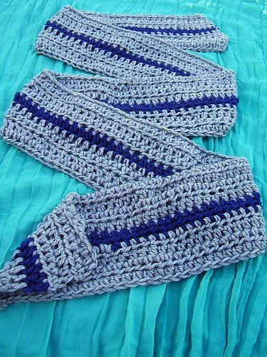 Gray Crocheted Scarf with Navy Contrast Stripe