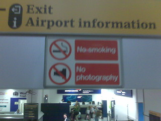 No photography sign at Gatwick airport