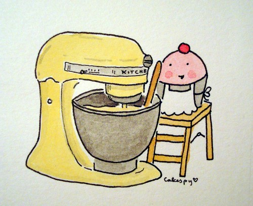 Custom Request, Cuppie with Canary Yellow Kitchen Aid Mixer