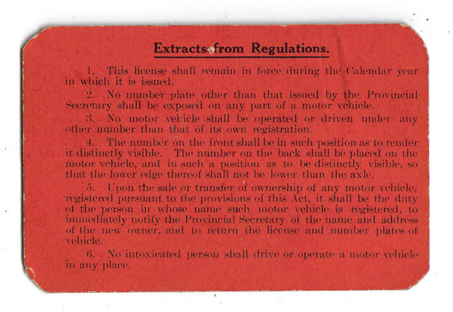 Alberta 1913 motor vehicle registration certificate for for Alberta motor vehicle registration