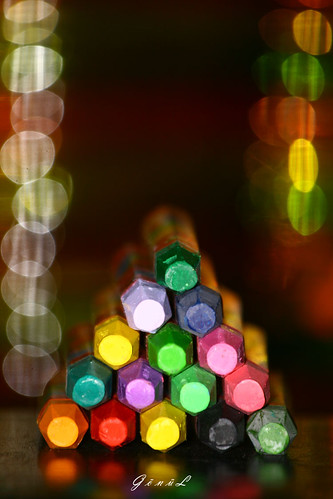 color pencils in bokeh