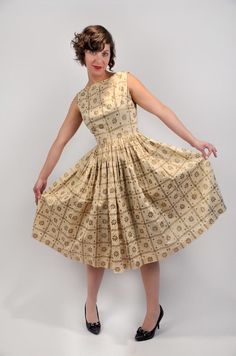 50's Handpainted Gold Dress