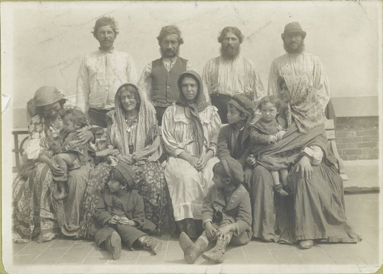 Group photograph captioned 'Hungarian Gypsies all of whom we...