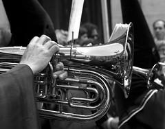 guitar(0.0), horn(0.0), euphonium(0.0), tuba(1.0), trumpet(1.0), musical instrument(1.0), music(1.0), monochrome photography(1.0), monochrome(1.0), brass instrument(1.0), black-and-white(1.0), black(1.0),