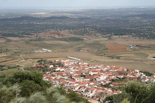 Vista aérea de Santa Eufemia, uno de los pueblos de la mancomunidad de los Pedroches.