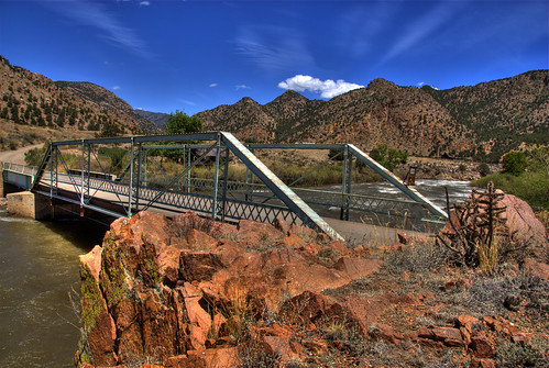bridge blue sky water clouds river landscape colorado rocks steel historic hdr arkansasriver bridging truss photomatix 200805 texascreek bridgepixing bridgepix