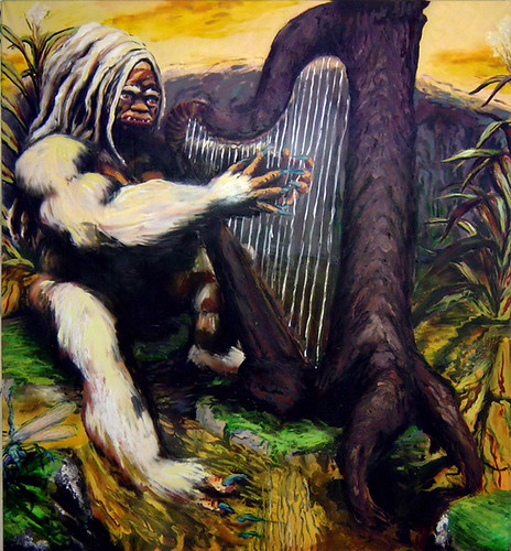 Kala play Harp 54x62, Oil, acrylic, ink, on canvas, 2004 by tetragramm