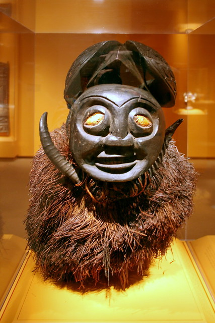 Mask, Bamum peoples, Grassfields region, Pa Nje village, Cameroon, Late 19th to early 20th century, Wood, horns, plant fiber, spider silk
