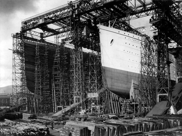 RMS Titanic and RMS Olympic under construction at Harland ...
