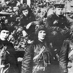 Zinoviy Kolobanov (in the center) and his Tank Crew. 1941.