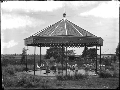 Garden pavilion over a duck pond
