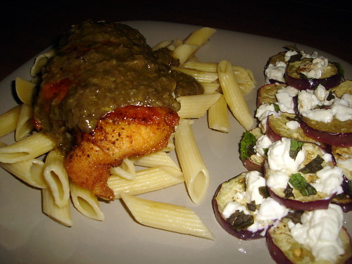 Chicken over pasta with eggplant