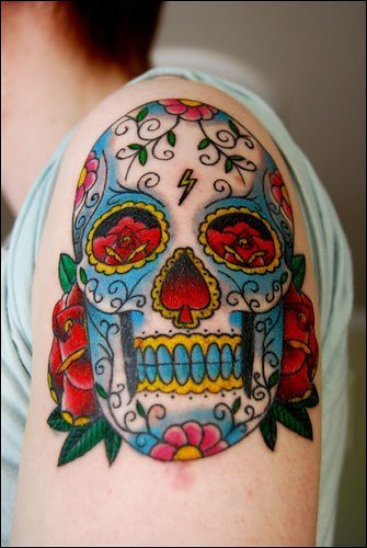 my first tattoo candy skull by drn mc