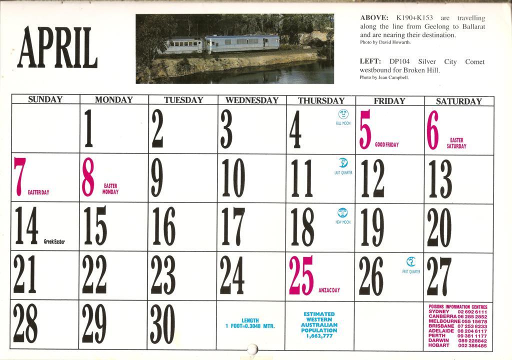 1996atc0009 April Page 1996 Australian Trains Calendar Flickr