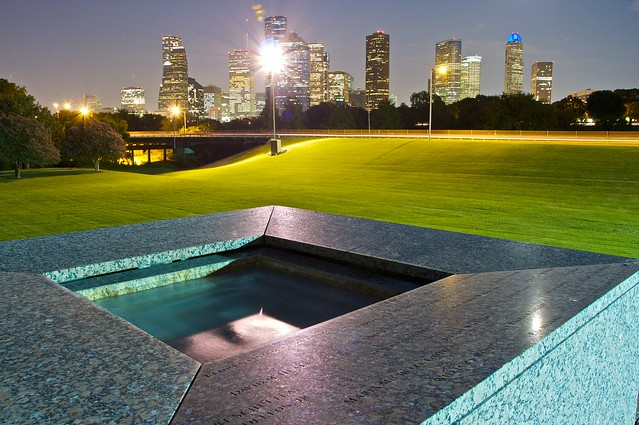 HPD Officer's Memorial - top fountain landscape