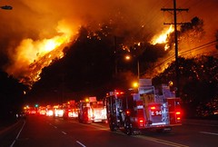Strike Teams Arrive at October 2008 wildfire in Sepulveda Pass. © Photo by Mike Meadows, click to view more...