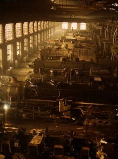 Jack Delano: Chicago and Northwestern Railroad locomotive shop, Chicago, Illinois, 1942