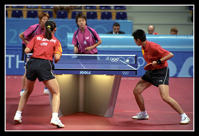 Serving china womens table tennis doubles 2004 olympics for Table tennis serving rules