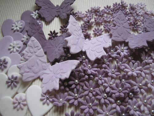 Lilac butterflies, hearts and flowers