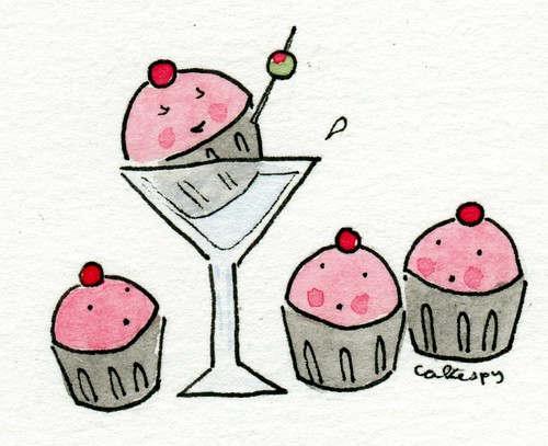 Custom request, cupcakes and martini