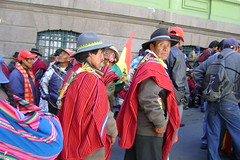 Marchers in the new-constitution march on La Paz