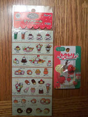 nyanko dessert stickers and tomatori-chan charm