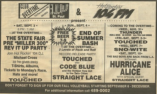09/10/88 Hurricane Alice/ Straight Lace @ Club Overtime, St. Paul, MN