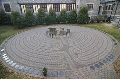 labyrinth, cobblestone, road surface,