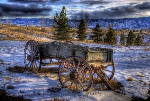 statepark wood old trees winter light sunlight lake snow clouds wagon landscape colorado shadows wheels denver historic chatfield hdr littleton photomatix anawesomeshot 200803